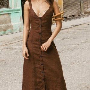 Faithfull The Brand La Ville Button Midi Dress
